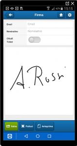 Il cliente firma sull'app TichetPlan