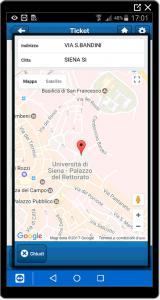 Schermata mappa su App TicketPlan